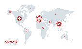 Covid-19 world map. Coronavirus disease situation. March 2020. Global pandemic. Vector illustration, flat design