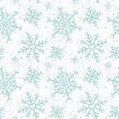 Seamless pattern with snowflakes. Winter inspiration. Christmas season. For greeting card, banner, web, scrapbooking. White and turquoise background. Vector illustration, flat design