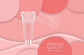 Beauty product ad design, pink cosmetic container with luxury advertising background ready to use, luxury skin care banner, illustration vector.