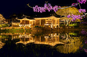 Seochulji pond and Arakdang Pavilion, traditional korean house at night.