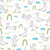Cat unicorn seamless pattern. Trendy childish drawing style. vector illustration for fashion textile print.