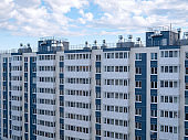 view of multi-apartment multi-storey residential building, panel monolithic new building, renovation, new residential area