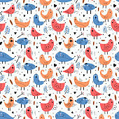 Bird seamless pattern with funny character. Vector illustration ready for fashion textile print. Trendy hand drawn for baby and kids apparel. Blue and orange colors.