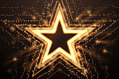 Gold light star shape background