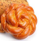 Round bun, bread rolls isolated on white background.