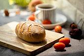 healthy breakfast: artisan whole wheat crusty bread, and coffee