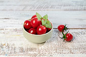 fresh cherry tomato  and mint leaf