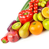 Set of vegetables and fruits isolated on a white background.