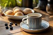 homemade sweet bun and coffee
