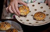 artisanal baked pastry:sesame shortcrust mooncake