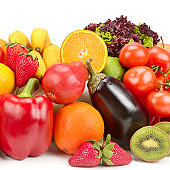 Fruits and vegetables isolated on white background. Healthy food.