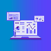 statistics charts analysis on Computer screen monitoring. Flat vector infographic analytic trend graphs information concept for planning and accounting, audit, data report, marketing illustration
