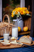 artisan crusty bread, butter and milk