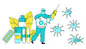 Vector flat doctor virologist, infectious disease specialist or therapist who fights viruses with syringe