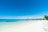 Beautiful tropical beach and blue sky in Maafushi Island, Maldives