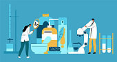 Vector flat illustration with enlarged hygiene products and laboratory technicians who examine their composition.
