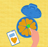 Vector flat illustration of process making waffles according to recipe from Internet.
