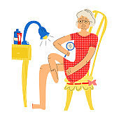 Vector flat of elderly woman examining her foot with magnifying glass.