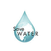 Save the water, the inscription on blue three-dimensional model of water drop on planet with gradient
