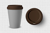 Vector 3d Realistic Gray Disposable Closed and Opened Paper, Plastic Coffee Cup for Drinks with Brown Lid Set Closeup Isolated on Transparent Background. Design Template, Mockup. Top and Front View