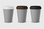Vector 3d Gray Realistic Disposable Closed Paper, Plastic Coffee Cup for Drinks with White, Brown and Black Lid Set Closeup Isolated on Transparent Background. Design Template, Mockup. Front View