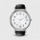 3d Vector Realistic Golden Classic Vintage Unisex Wrist Watch Icon Closeup Isolated on Transparent Background. Design Template of Wristwatch with Leather Bracelet. Top, Front View