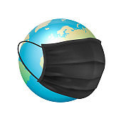 Vector Banner, Placard. 3d Realistic Globe, Earth Planet and Face Medical Protect Mask Closeup Isolated on White Background. Coronavirus, 2019-nCoV, Covid-19. Infection, Dangerous Concept