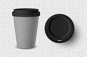 Vector 3d Realistic Gray Disposable Closed and Opened Paper, Plastic Coffee Cup for Drinks with Black Lid Set Closeup Isolated on Transparent Background. Design Template, Mockup. Top and Front View