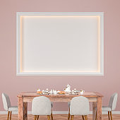 Dining room with table and decoration plaster wall with illuminated niche stock photo