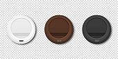 Vector 3d Realistic White, Brown, Black Disposable Plastic Coffee Cup Lid Icon Set Closeup Isolated on Transparent Background. Design Template, Mockup. Top View