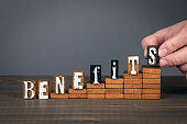BENEFITS concept. Wooden alphabet letters on steps