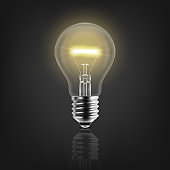 Vector 3d Realistic Turning On Light Bulb Icon Closeup Isolated on White Background with Reflection. Glowing Incandescent Filament Lamps. Creativity Idea, Business Innovation Concept