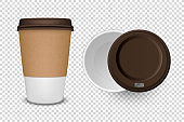 Vector 3d Realistic Disposable Opened Paper, Plastic Coffee Cup for Drinks with Brown Lid Icon Set Closeup Isolated on Transparent Background. Design Template, Mockup. Top and Front View