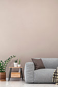 Empty living room with gray sofa, table and decoration
