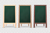Vector 3d Realistic Blank Wooden Chalk Green Board for Restaurant Menu Icon Set Closeup Isolated. Advertising Street Sandwich Stand, Sidewalk Sign. Chalkboard for Cafe, Design Template, Mockup