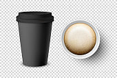 Vector 3d Realistic Black Disposable Closed and Opened Paper, Plastic Coffee Cup for Drinks with Black Lid Set Closeup Isolated. Design Template, Mockup. Top and Front View