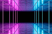 Modern empty abstract interior illuminated by blue pink neon lights, 80's retro style, stock photo