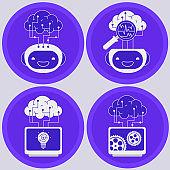 Artificial intelligence concept. Trendy linear vector illustration