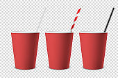 Vector 3d Realistic Red Disposable Opened Blank Paper, Plastic Coffee, Tea Cup for Drinks with Straw Icon Set Closeup Isolated on Transparent Background. Design Template, Mockup. Top and Front View