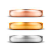 Vector 3d Realistic Gold and Silver Metal Wedding Ring Icon Set Closeup Isolated on White Background. Design Template of Shiny Golden Rings. Clipart, Mockup. Side, Front View
