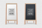 Vector 3d Realistic Blank White and Black Wooden Board for Restaurant Menu Icon Set Closeup Isolated. Advertising Street Sandwich Stand, Sidewalk Sign. Chalkboard for Cafe, Design Template, Mockup