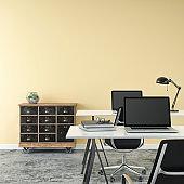 Empty office interior with work desks