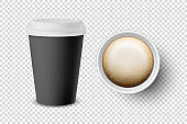 Vector 3d Realistic Black Disposable Closed and Opened Paper, Plastic Coffee Cup for Drinks with White Lid Set Closeup Isolated on Transparent Background. Design Template, Mockup. Top and Front View