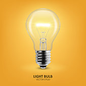 Vector 3d Realistic Turning On Light Bulb Icon Closeup on Yellow Background. Design Template, Clipart. Glowing Incandescent Filament Lamps. Creativity Idea, Business Innovation Concept