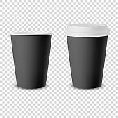 Vector 3d Realistic Black Disposable Opened and Closed Paper or Plastic Coffee Cup for Drinks with White Lid Icon Set Closeup Isolated. Design Template, Mockup. Front View