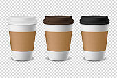 Vector 3d Realistic Disposable Closed Paper, Plastic Coffee Cup for Drinks with White, Brown and Black Lid Set Closeup Isolated on Transparent Background. Design Template, Mockup. Front View