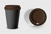 Vector 3d Realistic Black Disposable Closed and Opened Paper, Plastic Coffee Cup for Drinks with Brown Lid Set Closeup Isolated on Transparent Background. Design Template, Mockup. Top and Front View