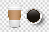 Vector 3d Realistic Disposable Opened Paper, Plastic Coffee Cup for Drinks Icon Set Closeup Isolated on Transparent Background. Design Template, Mockup. Top and Front View