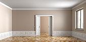 Empty apartment interior background 3d rendering