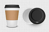 Vector 3d Realistic Disposable Opened and Closed Paper, Plastic Coffee, Tea Cup for Drinks with Black Plastic Lid Icon Set Closeup Isolated on Transparent Background. Design Template, Mockup. Top View